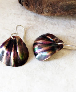 Copper Colored Patina Shell Earrings