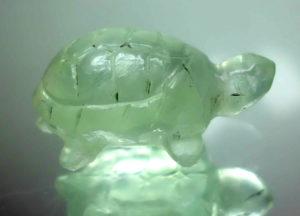 Prehnite - carved turtle