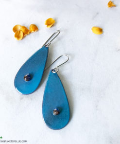 blue oval art enamel earrings