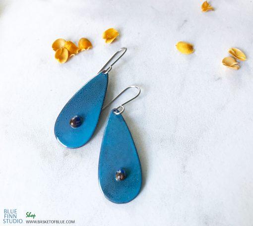 blue oval art enamel earrings