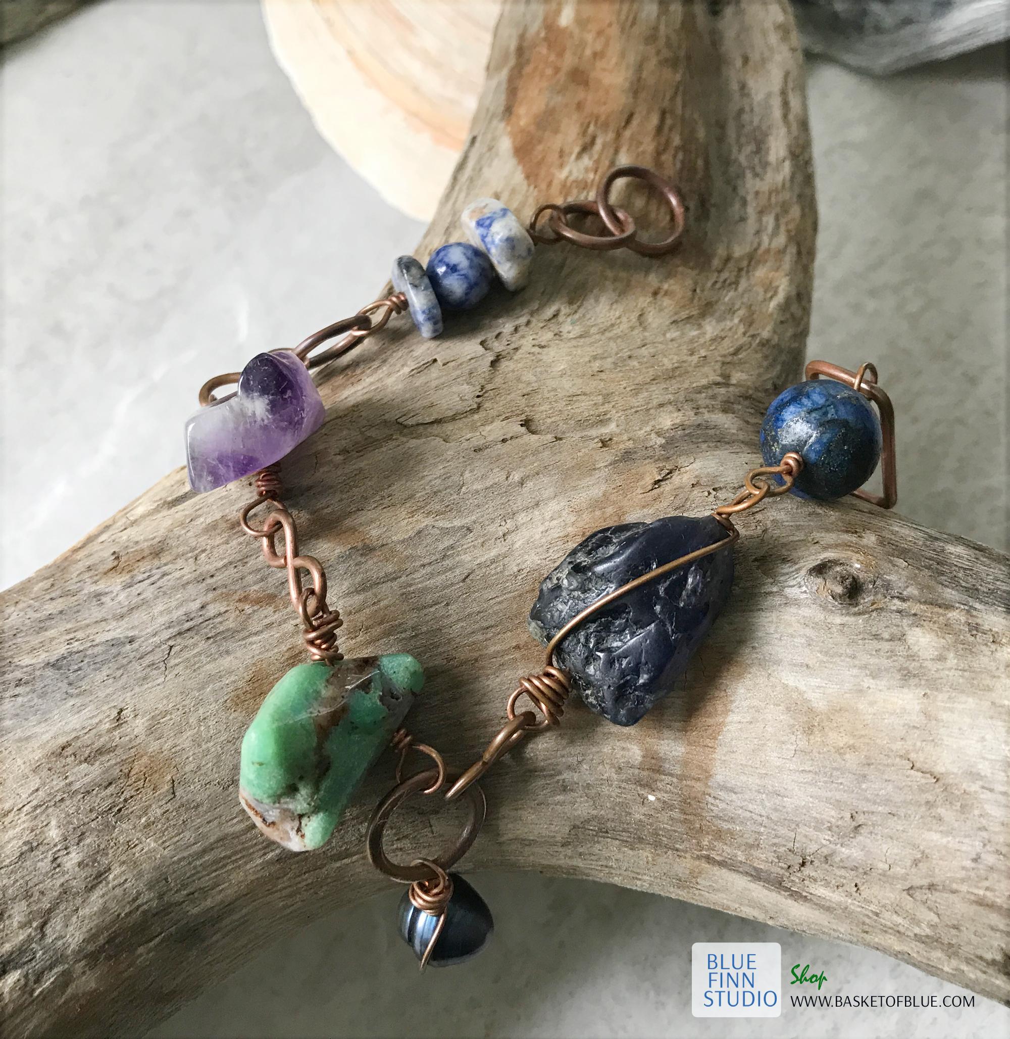 Chunky multi gemstone copper bracelet