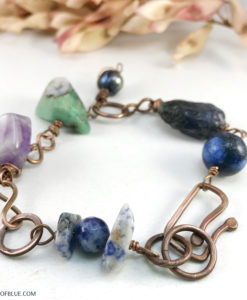 Chunky multi gemstone copper bracelet