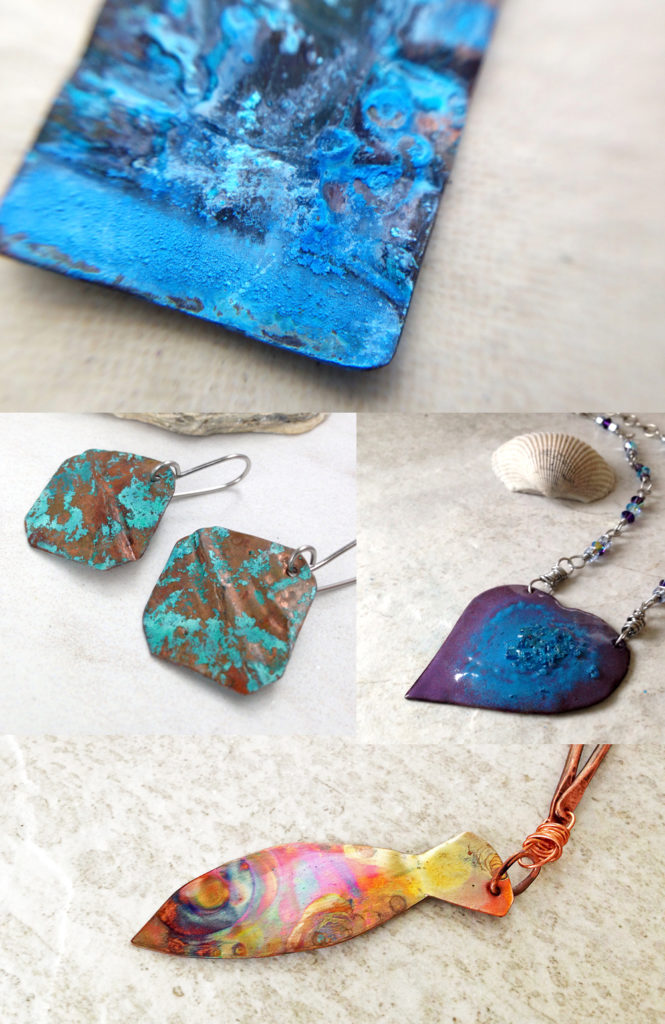 copper jewelry - patina, enameled copper, flamed copper necklace