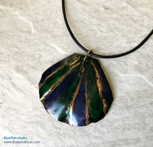 Blue Green Ink Dyed Shell Copper Necklace