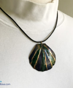 Blue green copper shell pendant