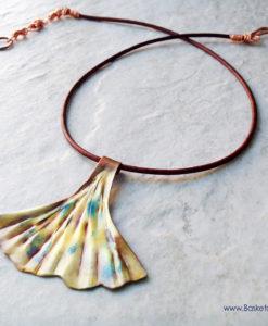 Ginkgo Leaf Necklace Artisan Copper