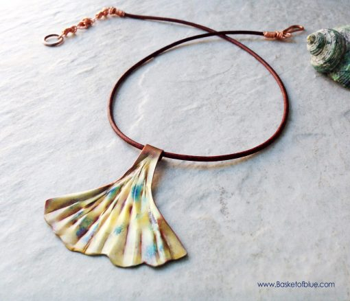 Ginkgo Leaf Necklace Artisan Copper