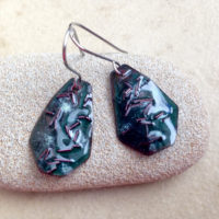 Green Enamel Copper Rain Earrings