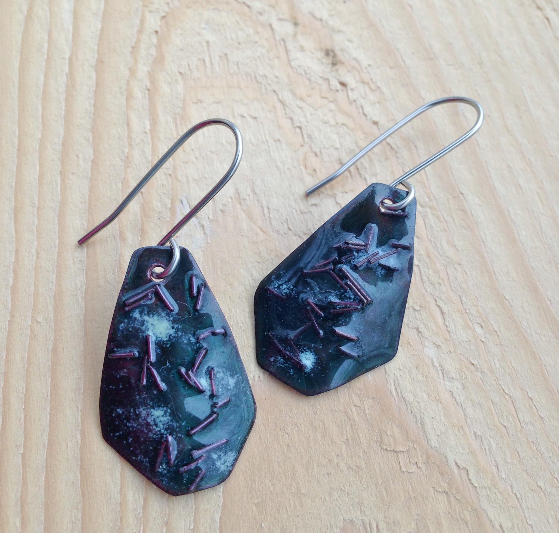Green Enamel Copper Rain Earrings