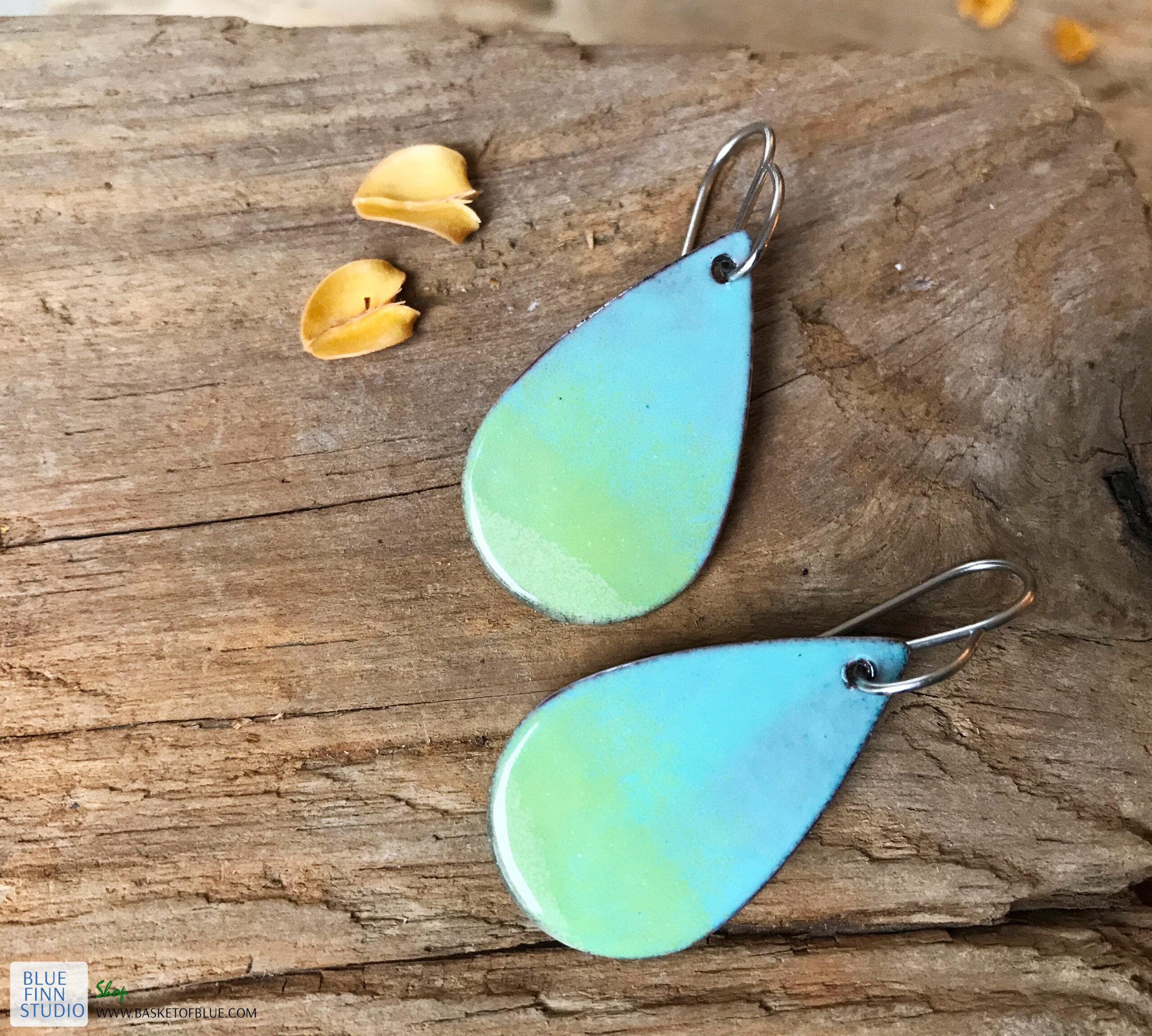 enameled copper blue green oval teardrop earrings