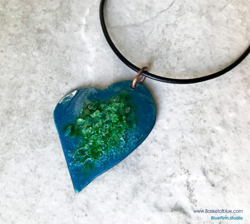 Enamel Heart Necklace - Dark Blue