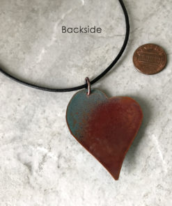 Enamel Heart Necklace - Light blue Crumble