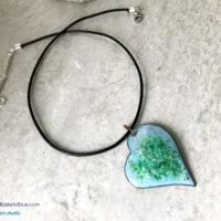 Enamel Heart Necklace - Light blue