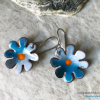 Blue Enamel Flower Earrings