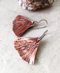 Copper Ginkgo Leaf Earrings