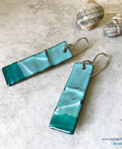 Green Enamel Wavy Earrings