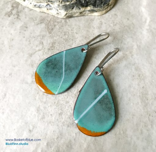 Green Oval Teardrop Stripe earrings