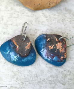 Rustic patina blue enamel shell earrings