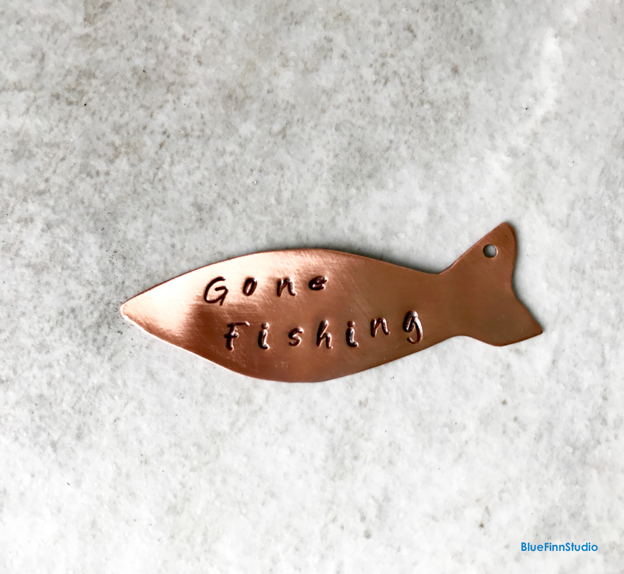 Fish Charm Gone fishing Quote Copper