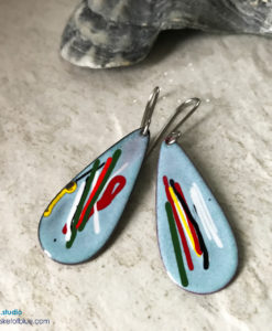 Blue Long Teardrop Mixed Color Earrings