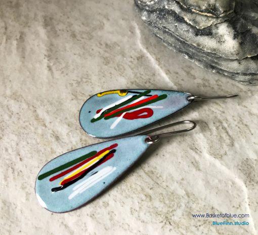 Blue Long Teardrop Mixed Color Earrings