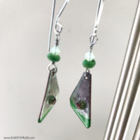 Green enamel and murrini glass earrings
