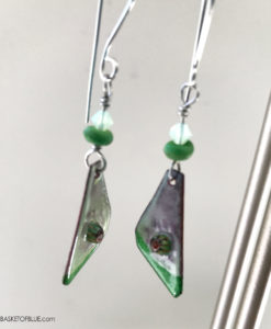 Green enamel and murrini glass earrings