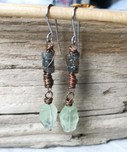 prehnite boho dangle earrings