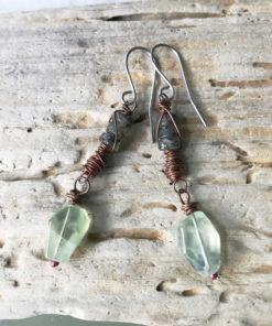 prehnite boho dangle earrings
