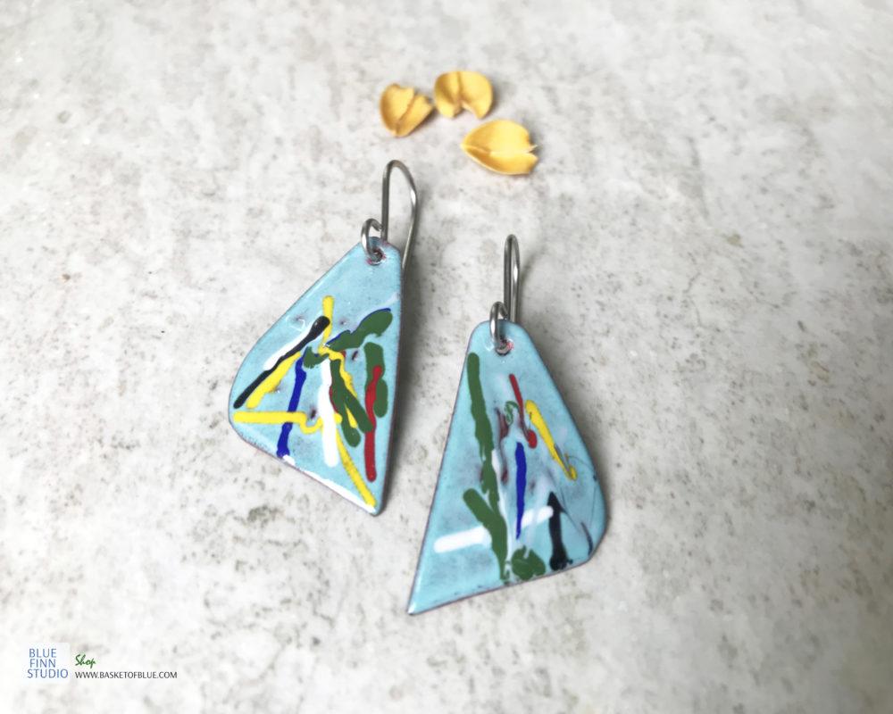 colorful enamel art earrings