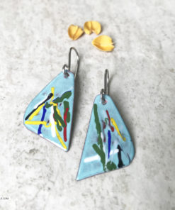 colorful enamel art earrings
