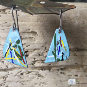 painterly art enamel earrings