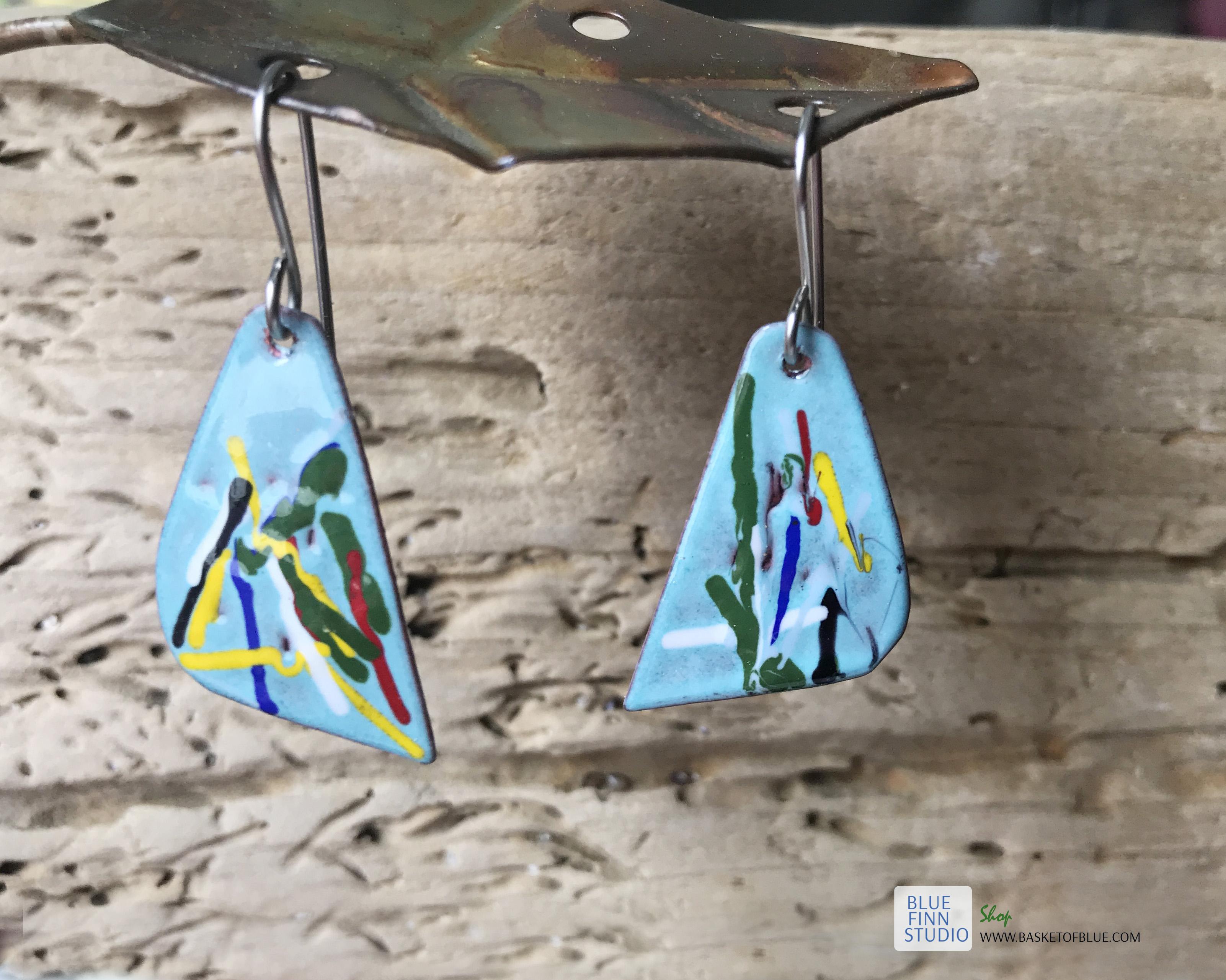 painterly art enamel earrings