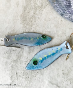 blue enamel fish earrings