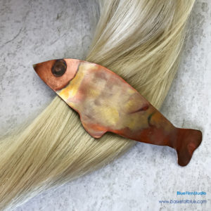 Fish Barrette Clip Flamed Copper