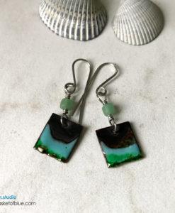 green enamel rustic dangle earrings