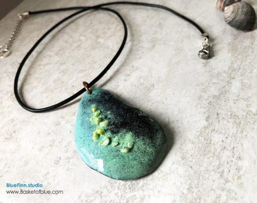 Green Enamel Mussel Shell Pendant