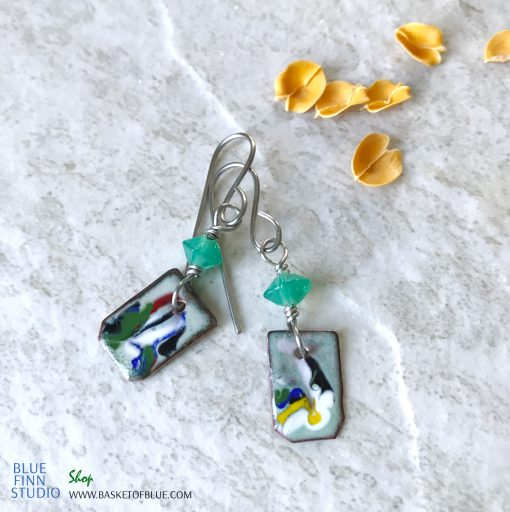 picasso art enamel dangle earrings