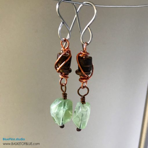 Green Prehnite Dangle Earrings