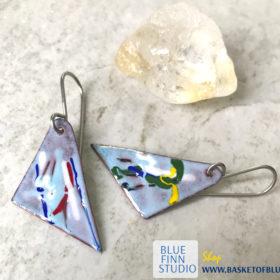 painterly enamel art earrings