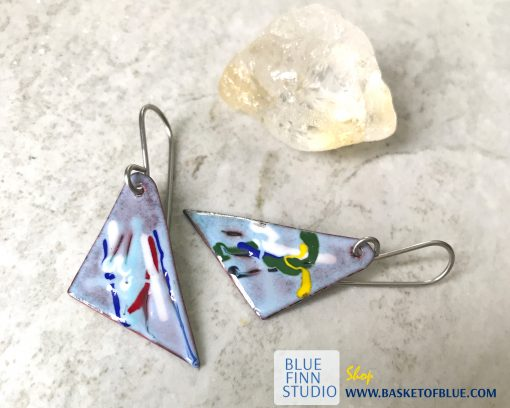 painterly enamel art earrings