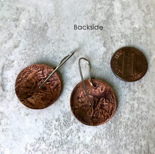 Woodcock Bird coin Earrings Copper