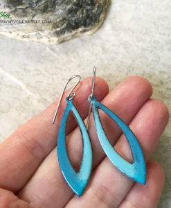 blue green long oval hoop enamel earrings