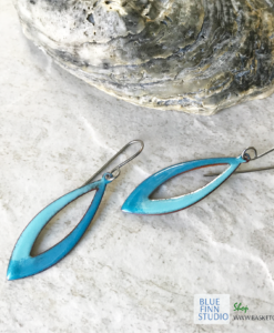 blue green long oval hoop enamel earrings
