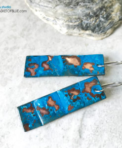 Blue Patina earrings - long rectangle