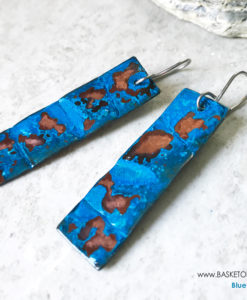 Blue Patina earrings - long copper rectangle