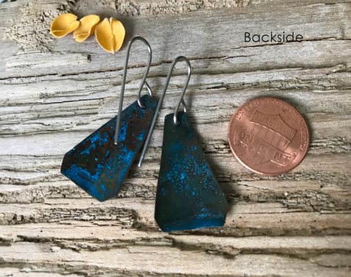 Blue copper patina triangle earrings