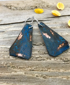 Blue copper patina tirangle earrings