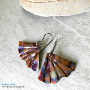 Mermaid Tail Earrings - Colorful Flame Painted Copper