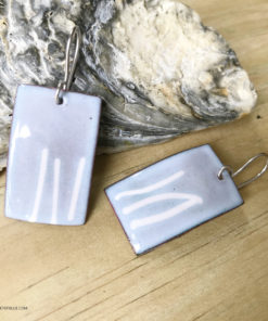 blue rectangle art lines earrings